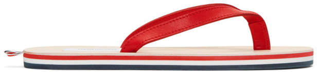 Thom Browne Red Leather Sandals