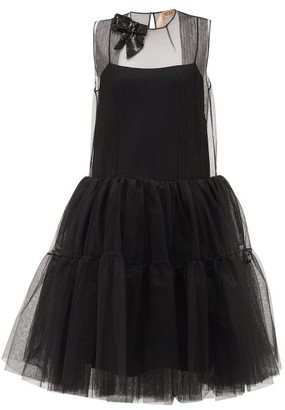 No.21 No. 21 - Sequinned-bow Tulle-panel Dress - Womens - Black
