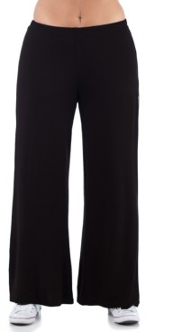 24seven Comfort Apparel Women's Plus Size Comfortable Palazzo Lounge Pants