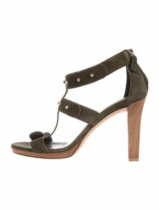 Gucci Suede Gladiator Sandals Green