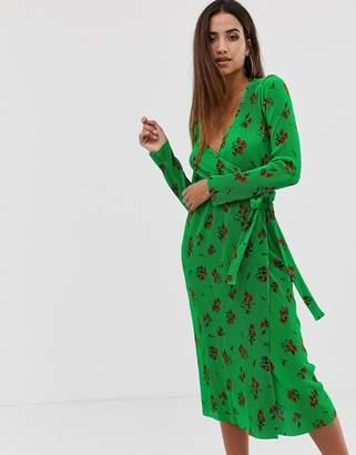 Asos Design DESIGN midi plisse wrap dress in green based floral-Multi
