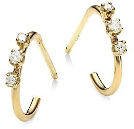 Zoë Chicco Diamond 14K Yellow Gold Huggie Hoop Earrings
