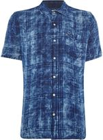 True Religion Men's Slim Fit Washes Check Roll Up Short Sleeve Shirt