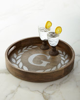 """GG Collection G G Collection MONOGRAMMED ROUND TRAY 20"""""""