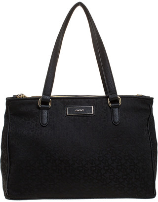 DKNY Black Signature Canvas and Leather Double Zip Tote