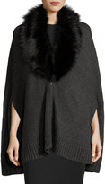 Three Dots Sophie Cape Cardigan with Faux-Fur-Trim, Mink