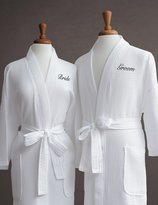 Luxor Linens Egyptian Cotton Waffle Weave Robe with Couple's Embroidery - Perfect Wedding Gift!