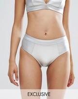 Monki Metallic Tanga Bikini Bottoms