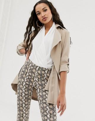 Lipsy drapey duster jacket-Stone