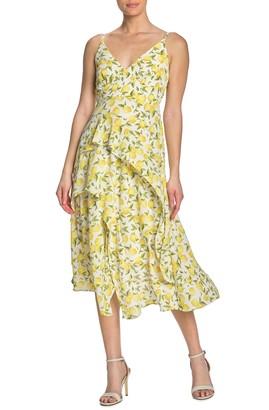 Gabby Skye Lemon Printed Ruffle Midi Dress