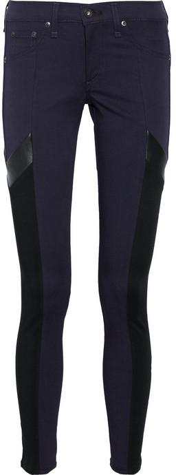 Rag and Bone Rag & bone JEAN The Grand Prix leather-paneled twill leggings-style jeans