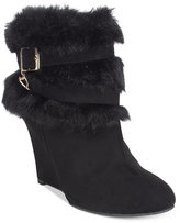 Thalia Sodi Saadie Faux-Fur-Trim Wedge Booties, Only at Macy's