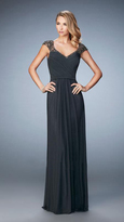 La Femme 22974 Beaded Lace Cap Sleeve Long Gown
