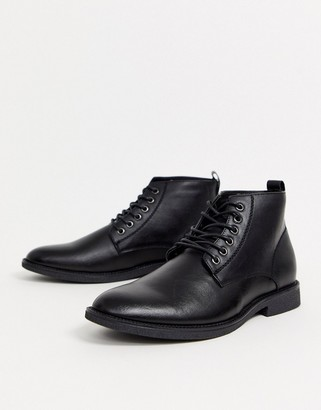 New Look faux leather lace up boot in black