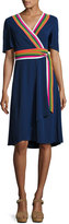 Tory Burch Peggy Wrap Dress w/ Striped Trim, Navy