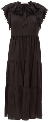 See by Chloe Ruffled Cotton-voile Midi Dress - Black