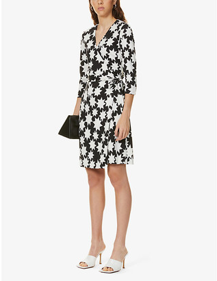 Diane von Furstenberg New Julian Two star-print silk-knit mini wrap dress