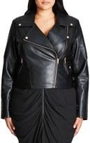 City Chic Faux Leather Biker Jacket (Plus Size)