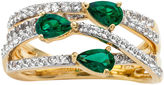 JCPenney FINE JEWELRY Lab-Created Emerald and White Sapphire 14K Yellow Gold Over Sterling Silver Criss-Cross Ring