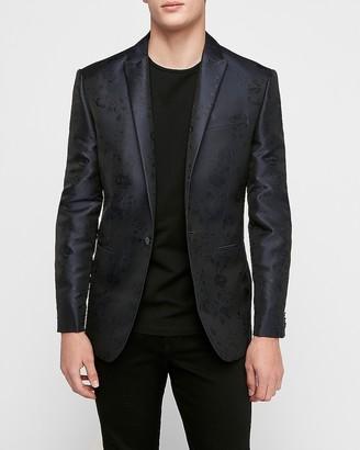 Express Slim Blue Floral Tuxedo Jacket