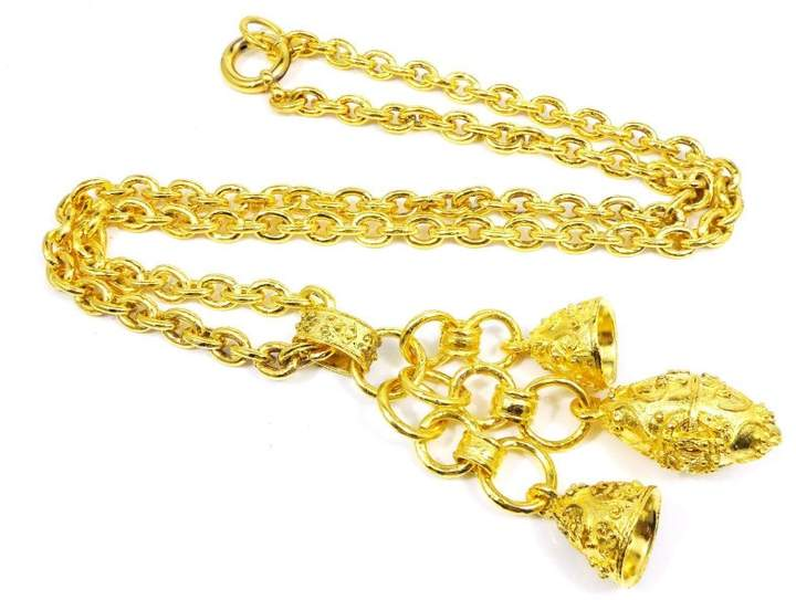 Chanel Gold Tone Hardware Coco Mark CC Logo Bell Pendant Necklace