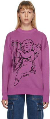 MSGM Purple Wool Harp Angel Crewneck