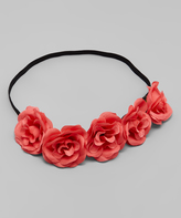 Coral Pink Flower Crown Headband