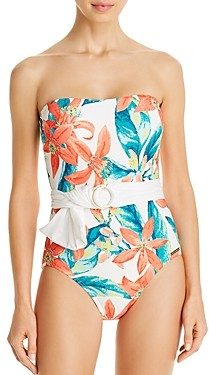 Vince Camuto Printed Belted Bandeau One Piece Swimsuit
