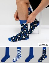 Jack & Jones Socks 4 Pack With Graphic Print