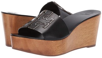 Tory Burch 80 mm Ines Wedge Slide (Perfect Black/Silver) Women's Shoes