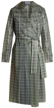 Wanda Nylon - Tie-waist Coated-tartan Trench Coat - Brown Multi