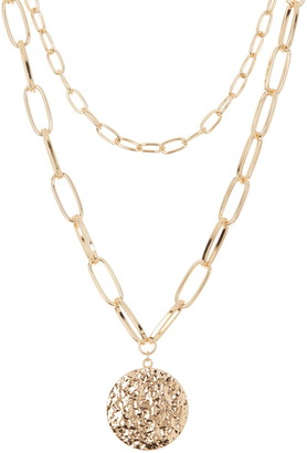 Area Stars Link Chain Disc Statement Necklace