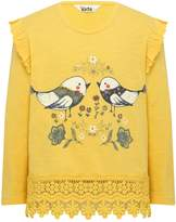 M&Co Bird print crochet hem frill top