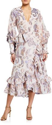 Alexis Abessa Printed Ruffle Wrap Dress