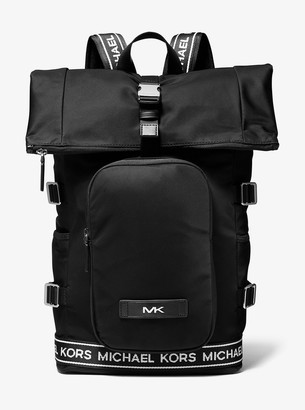 Michael Kors Kent Logo Tape Nylon Roll Top Backpack