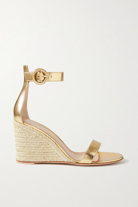 Gianvito Rossi Portofino 85 Metallic Leather Espadrille Wedge Sandals