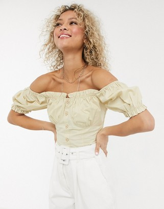 Urban Bliss cropped milkmaid top in beige