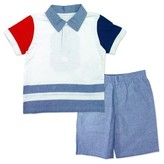 Little Rebels Toddler Boys' Two Piece Set with Polo and Chambray Short - White