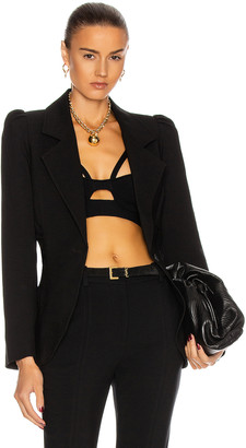 Smythe Ruched Blazer in Black | FWRD