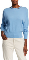 Brunello Cucinelli Cashmere Crewneck Long-Sleeve Sweater w/ Monili & Tulle Trim