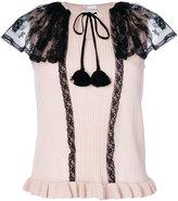 RED Valentino lace insert blouse - women - Cotton/Polyamide/Wool - XXS