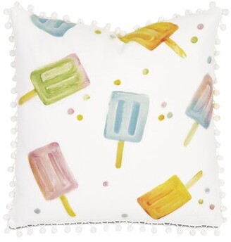 Arabella Eastern Accents Hand Painted Popsicle Square Cotton Throw Pillow Eastern Accents