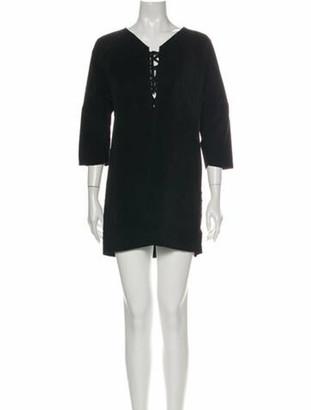 Isabel Marant Calf Leather Mini Dress Black