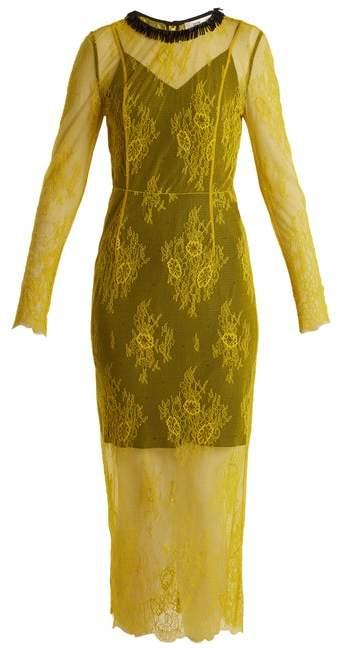 Diane von Furstenberg Long Sleeved Bead Embellished Lace Dress - Womens - Yellow