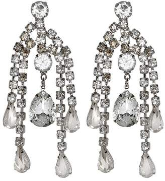 Kenneth Jay Lane Silver Crystal Chandelier Clip Earrings