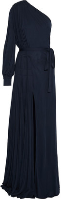 Oscar de la Renta One-shoulder Belted Pleated Jersey Gown