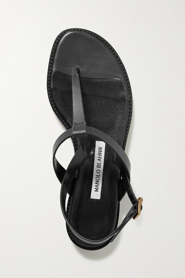 Thumbnail for your product : Manolo Blahnik Hata Leather Slingback Sandals - Black