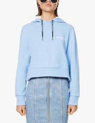 Balmain Cropped logo-print cotton-jersey hoody