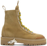 Off-White Beige Suede Hiking Boots