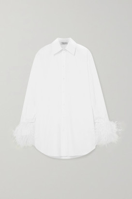 Valentino Feather-trimmed Cotton-poplin Shirt - White